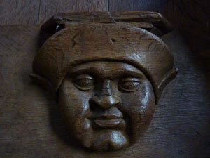 Misericords were not confined to England. This face is from Bourg-en-Bresse cathedral in France.