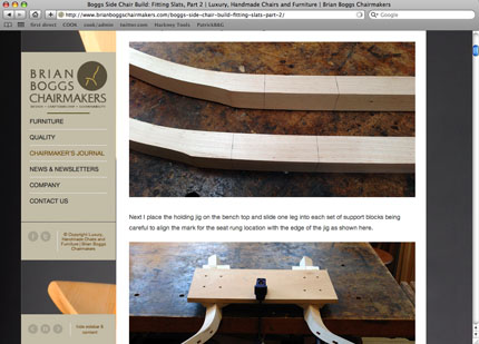 A sample of the posts from the 'Chairmaker's Journal' section of the Brian Boggs website.