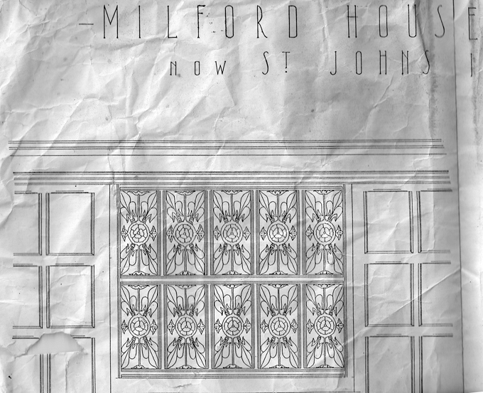 The drawing from the original plans of the missing carving made from when the house was known as Milford House. These proved to be invaluable for Michael and his team when they had to restore the panels.