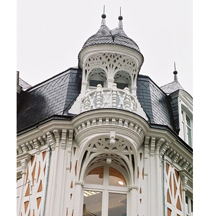 Wonderful monumental guitardes are found on three houses located at 12, 50-58, and 72 rue de la Gare, Paris, built in 1871, they have roofs adorned with complex dormers. (This picture is from No.12).